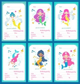 Набор шаблонов приглашения на детский день рождения с милыми русалочками и местом для текста, иллюстрации