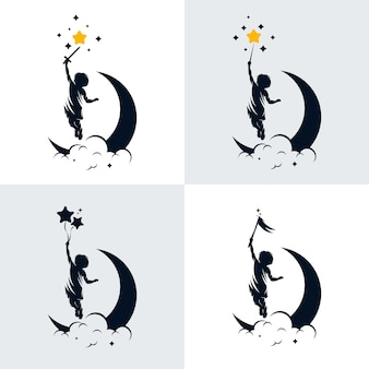 子供の夢のロゴデザインテンプレートのセット
