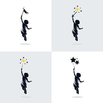 Набор детей мечты дизайн логотипа шаблона