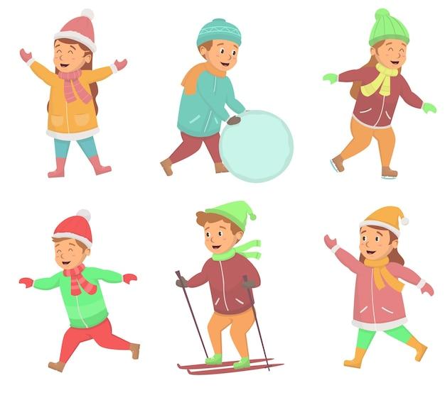 冬の外での活動を楽しんでいる子供たちのセット