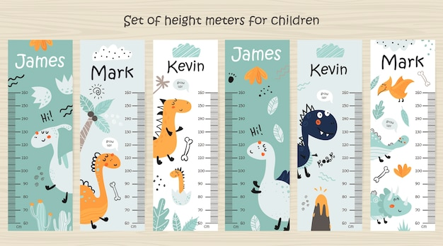 恐竜と子供の身長チャートのセット