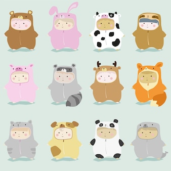 Set of kids in cute animal costumes