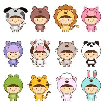 かわいい動物の衣装を着た子供たちのセット
