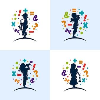 ロゴデザインを学ぶ子供たちのセット