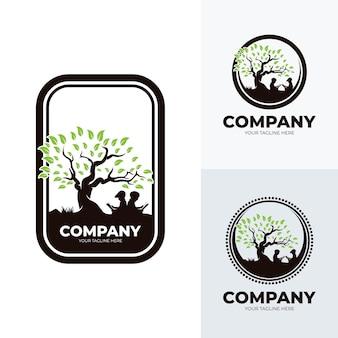 Набор детей, читающих шаблон дизайна логотипа