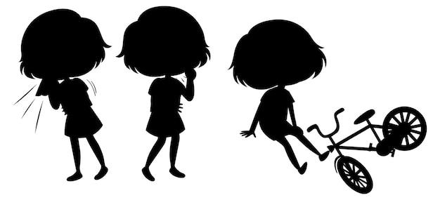 아이 실루엣 만화 캐릭터 세트