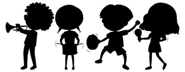 아이 실루엣 만화 캐릭터의 집합
