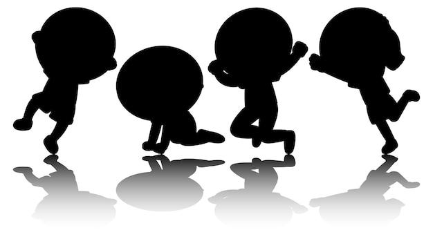 Набор детей силуэт мультипликационный персонаж