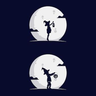 月と子供のシルエットのセット。