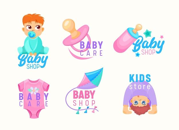 키즈 스토어와 베이비 샵 만화 아이콘 세트입니다. 작은 아기, 노리개 및 흰색 배경에 고립 된 연 우유 병. 디자인 요소, 아동용 엠블럼 제작 광고. 벡터 일러스트 레이 션