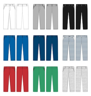 子供ズボンのデザインテンプレートのセット。男性のズボン。白、グレー、黒、青、黄、赤、緑の色のパンツ。正面図と背面図。カジュアルパンツのテクニカルスケッチ。ベクトルイラスト