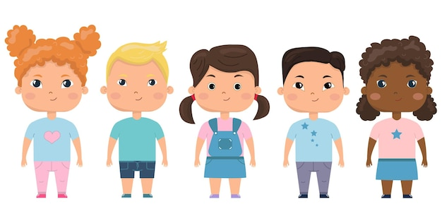 子供のセット。未就学児の子供たちの異なる国籍のベクトルセット。