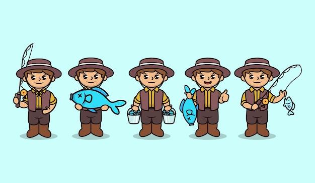 漁師の衣装を着た子供たちのセット