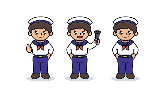 セーラーコスチュームマスコットデザインの子供たちのセット