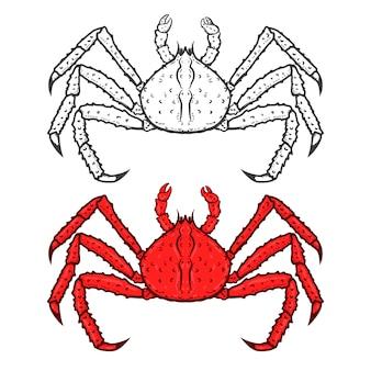 白い背景で隔離王の赤いカニのアイコンのセットです。シーフード。ロゴ、ラベル、エンブレム、記号、ブランドマークの要素。図。