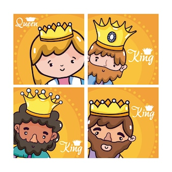 Set of kings and queen cartoons