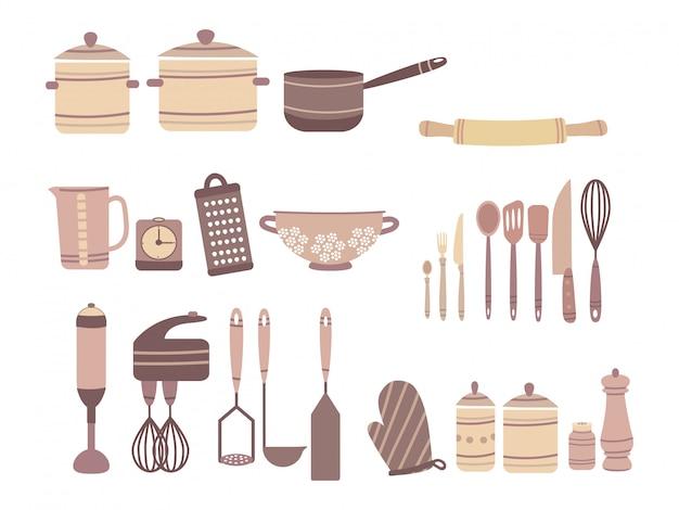 キッチンアクセサリーのセット。漫画のスタイルの料理用アクセサリーのコレクション。ナイフとカストルラム。白い背景の上の孤立したオブジェクト。