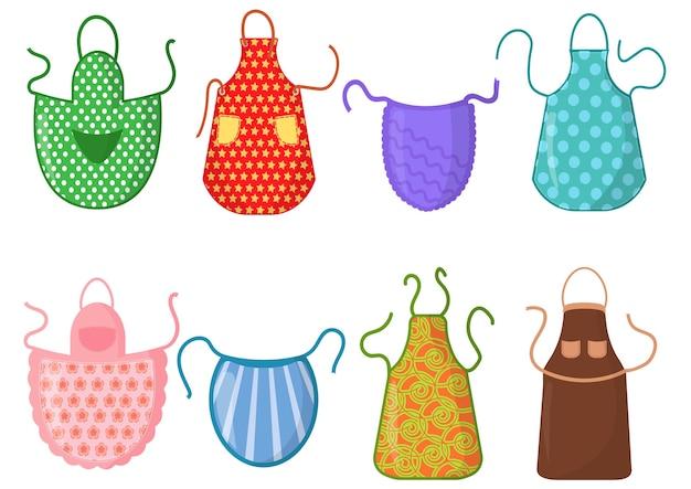 Набор кухонных фартуков с узорами, изолированные на белом фоне. защитная одежда. готовим платье для домохозяйки или шеф-повара ресторана иллюстрации