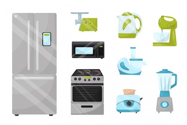 주방 전자 기기 세트입니다. 가정 용품. 가정 용품 매장의 광고 포스터 요소