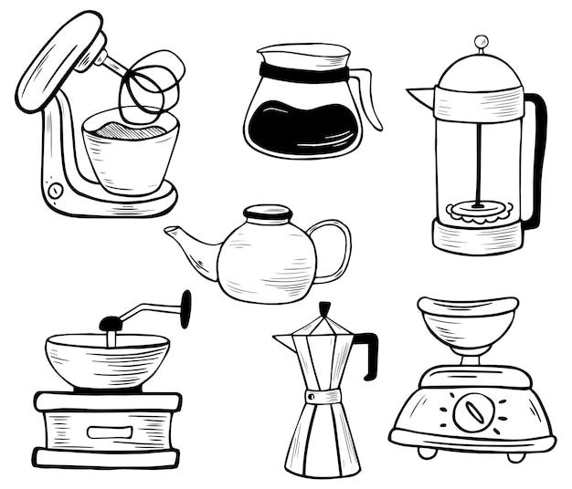 주방 전자 도구 세트입니다. 라인 아트. 믹서, 저울, 커피 그라인더, 간헐천 커피 메이커, 주전자, 프렌치 프레스. 주방 용품. 벡터 일러스트 레이 션 흰색 배경에 고립입니다.