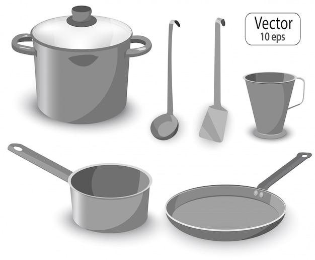 調理用のキッチンアイテムのセット。鍋、鍋、フライパン。