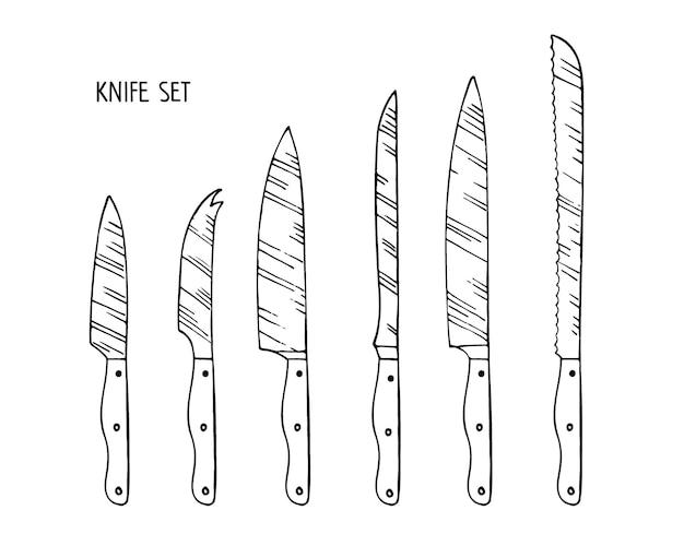다른 제품 스케치를 절단하기위한 주방 칼 세트 스테인레스 스틸 주방 칼