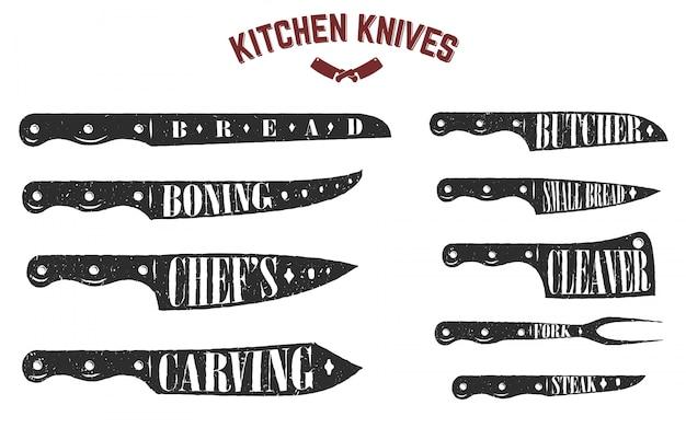 주방 나이프 세트. 흰색 바탕에 정육점 칼입니다. 삽화