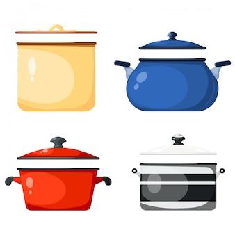 Набор кухонных кастрюль, кухонных принадлежностей