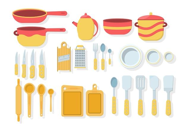 白い背景で隔離のキッチンツールのセットです。フラットスタイルのアイコン。木製のキッチンツール、調理器具、カトラリーがたくさん。キッチン用品コレクション。