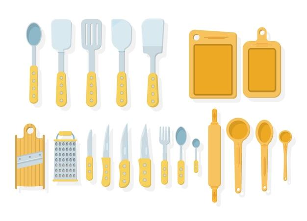 흰색 바탕에 주방 도구 세트입니다. 스타일의 아이콘. 많은 나무 주방 도구, 식기, 칼 붙이. 주방 용품 컬렉션. 삽화,.