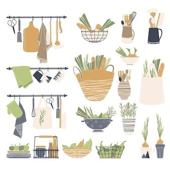 白で隔離の台所用品と食品のセット
