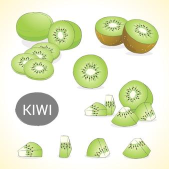 さまざまなスタイルのベクトル形式のキウイフルーツのセット