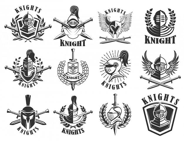 騎士のエンブレムのセットです。ロゴ、ラベル、エンブレム、記号、バッジの要素。図