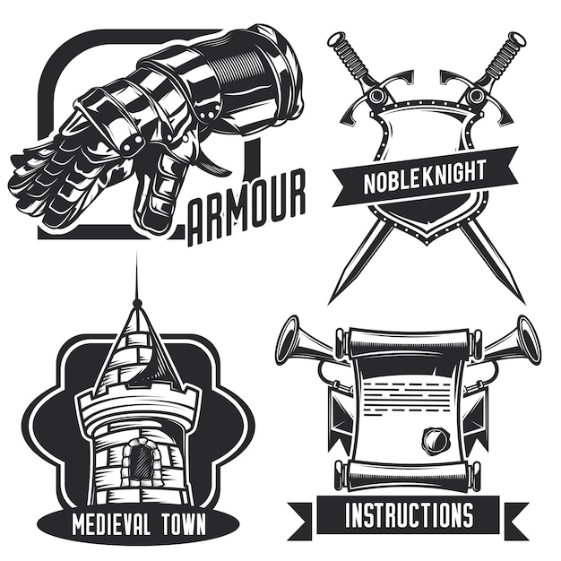 騎士のエンブレム、ラベル、バッジ、ロゴのセット。白で隔離
