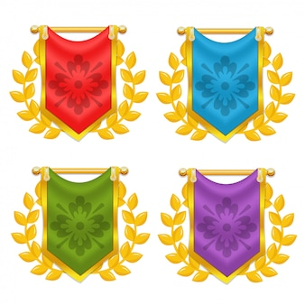 ローレルとシンボルの騎士旗のセット