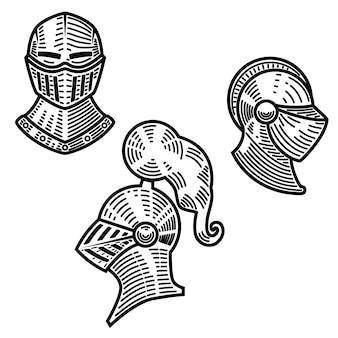 彫刻スタイルの騎士のヘルメットのセット。ロゴ、ラベル、エンブレム、記号の要素。図