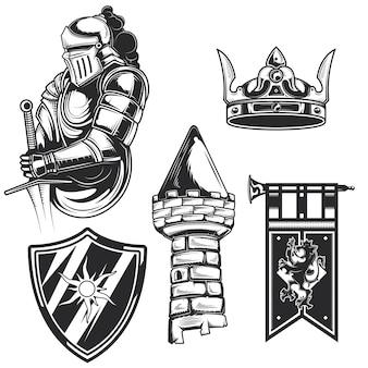 独自のバッジ、ロゴ、ラベル、ポスターなどを作成するための騎士の要素(タワー、シールド、クラウンなど)のセット。白で隔離。