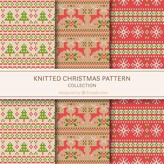 ニットクリスマスのパターンのセット