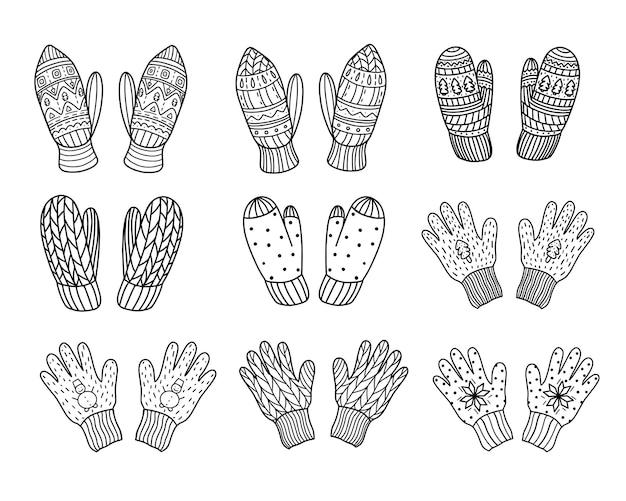 Набор вязанных варежек и перчаток. векторные иллюстрации в стиле каракули