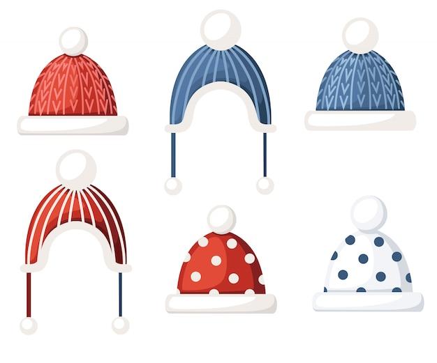 니트 겨울 모직 모자 모자 세트. 수제 제품. 패턴이있는 모자, 어린이 옷. 흰색 배경에 그림