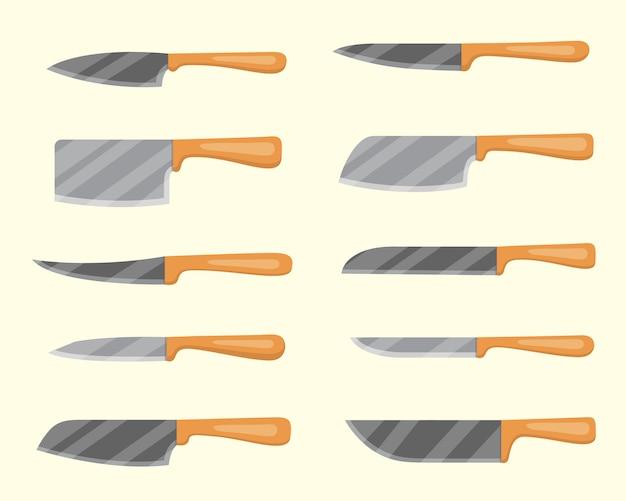 肉屋のナイフのセットです。包丁とカッター。調理器具、台所用品、武器用ナイフ。