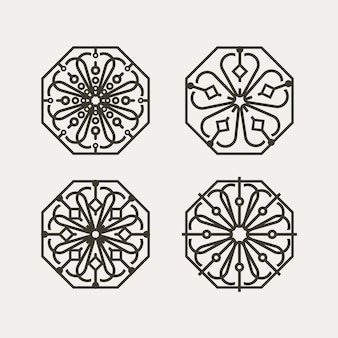 육각형 기하학적 프레임이 있는 한국 전통 꽃 패턴 세트