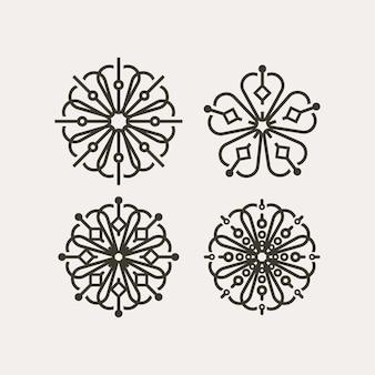 한국 전통 꽃 패턴 세트