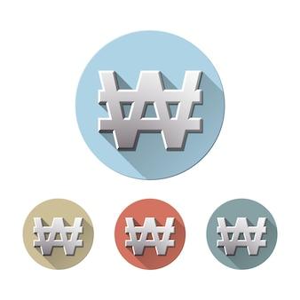 Набор корейского вон символа на цветных кругах плоских значков, изолированных на белом. денежная единица знака кореи. финансовая, деловая и инвестиционная концепция. векторная иллюстрация