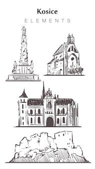 Набор зданий кошице, изолированные на белом