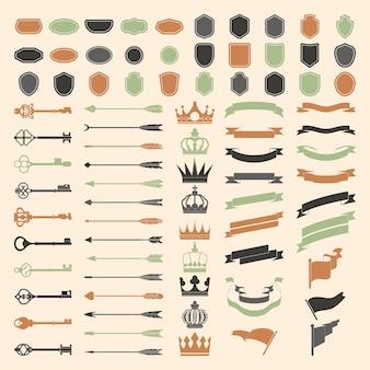 Набор векторов орнамент этикетки