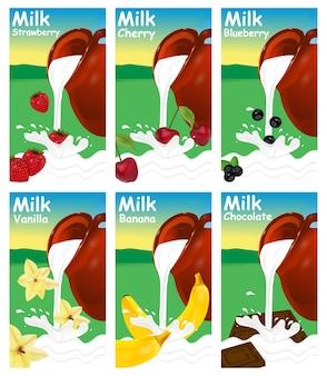 牛乳またはヨーグルトのラベルのセット