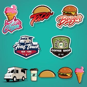 Набор наклеек, логотипов и шаблонов дизайна элементов для различных фаст-фудов