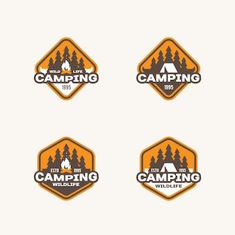 野生動物、冒険、キャンプをテーマにしたラベルのセット。