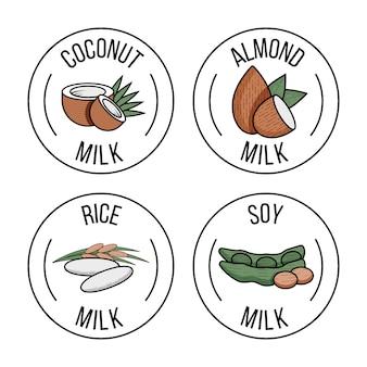Набор этикеток с кокосовым, миндальным, рисом и соевым молоком. векторная иллюстрация плоский. молочные продукты.